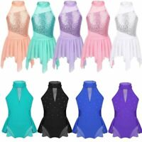 Girls Kids Lyrical Ballet Dance Dress Skating Leotard Skirts Gymnastics Costumes