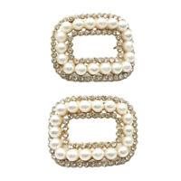 2pcs Faux Pearl Shoe Clips Charms Buckle Women Bridal Shoe Decor Accessories