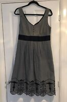 M & S NAVY BLUE STRIPED EMBROIDERED FIT FLARE MIDI DRESS SIZE 14 VGC