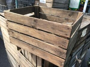 EURO VINTAGE WOODEN APPLE FRUIT CRATE RUSTIC OLD BUSHEL BOX CHRISTMAS HAMPER