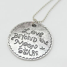 """Vintage Antique Silver 'Love Beyond the Moon+Stars' Coin Pendant Necklace 26.7"""""""