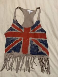 Delias British Flag Fringed Racerback Tank Top - Size L