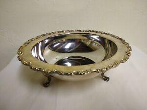 "V Oneida Silverplate Large 3 Footed Serving Bowl, Flower Details 10 1/2"" x 3 1/2"