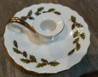 Vtg 1985 Lefton Porcelain Hand-Painted Holly & Ivy Candle Holder Loop 05252