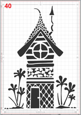Cute Elf Fairy House Stencil MYLAR A4 sheet strong reusable Art Craft Wall Deco