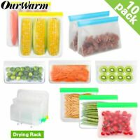 Food Storage Bag Silicone Leakproof Containers Zip Shut Reusable Grocery Bag 10p