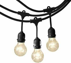 48FT Outdoor Waterproof Commercial Grade Patio Globe String Light 15 Bulbs G60