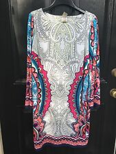 New Soldout $119 Chico's Paisley Print Multicolor Dress Size 3 = XL 16 18 NWT