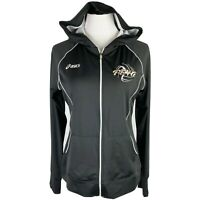 """Asics Women's Black White Full Zip Hooded """"PEVA"""" Athletic Jacket Size Medium"""