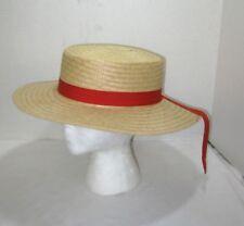 Women's Straw Hat Wide Brim Sun Hat W/Ribbon Easter Bonnet Derby Dress Church