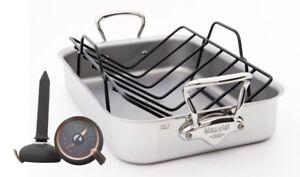 Mauviel M'cook Rechteckige Bratreine, Rösteinsatz und Bratenthermometer im Set