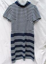 Vintage Blue White Polyester Short Sleeved  Dress Homemade Handmade 36 chest