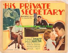 HIS PRIVATE SECRETARY MOVIE POSTER JOHN WAYNE 1933 HS 2nd Example PB VG