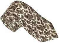 NEW BRIONI CREAM w BROWN & TAUPE PAISLEY 100% SILK NECK TIE