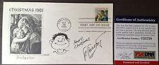 LO LINKERT Art Sketch RARE Signed MERRY CHRISTMAS Postal Cover PSA/DNA COA Auto