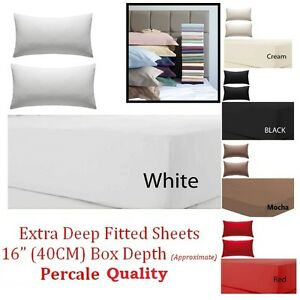 """Extra Deep Fitted Sheet 16""""/40CM Egyptian Cotton Single 4ft Small Double King"""