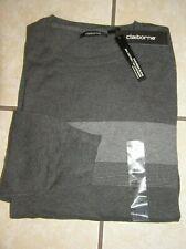 NWT $50 Mens  Claiborne Cotton/Cashmere Blend Crew-Neck Sweater Greys Sz XXL