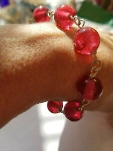 Valentine Red BohemianBracelet Czech Glass beads are over 80 yr Sterling silver