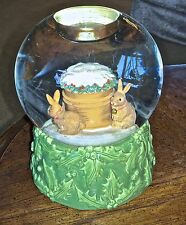 Hallmark Marjolein Bastin Water Globe Tea Light Holder Rabbits/Bunnies Winter