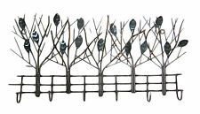 Metal Wall Art Decor Sculpture with 6 hooks shaped like trees with leaves silver