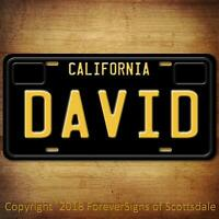 David California Name License Plate Aluminum Vanity Tag