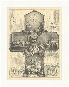 Ostern Glaube Kirche Kreuz Engel Eier Kinder Abendmahl Jesus Holzstich E 8519