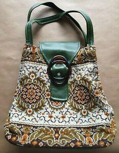 Vintage retro 70's faux tapestry green vinyl handbag boho cottagecore