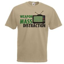 Mens Khaki Weapon of Mass Distraction T-Shirt Truth Seeker Conspiracy TShirt