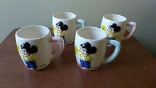 Mickey Mouse Dan Brechner 1960's Ceramic Cup-set of 4