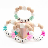 Baby Teether Bracelet Personalized Name Teething Silicone Beads Rattle Toys Gift