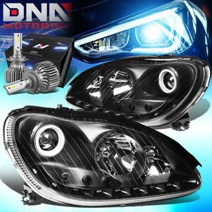 FOR 2000-2006 MERCEDES BENZ S350 PROJECTOR HEADLIGHT W/LED KIT SLIM STYLE BLACK