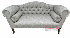 Gorgeous Bespoke Light Grey Jacobean Floral Double Ended Chaise Sofa  *UK Made**