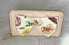 Betsey Johnson Bow Wallet Light Pink with flowers and butterflies on the bow