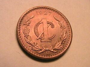 1927 Mexico 1 Centavo CH Red BU Nice Luster Estados Unidos Mexicanos 1C Coin