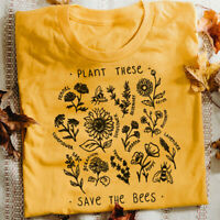 Plant Graphic Harajuku Funny The Tees These Bees Women T-shirt Save Vintage Tops