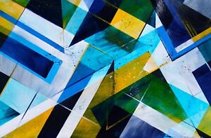 ShawNshawN Original Painting - Geometric Abstract - Blue Yellow Square Triangle
