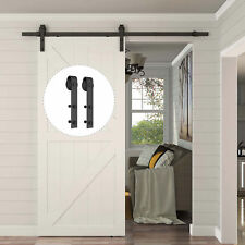 8FT Carbon Steel Sliding Wood Barn Door Hardware Kit Track Set Black