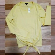 TALBOTS YELLOW BOAT-NECK LONG-SLEEVE TIE-WAIST PULLOVER SWEATER S NWT