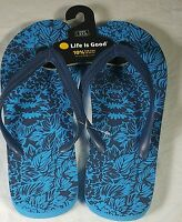 NWT LIFE IS GOOD Tropical Leaves Blue Women's Flip Flops Size LARGE  9 / 10