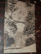 REAL PHOTO POSTCARD MULTNOMAH FALLS in WINTER DRESS 1918 VANCOUVER WA ALMA WI