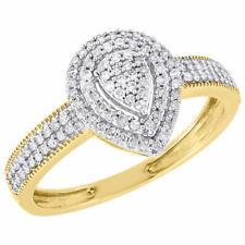 Fashion Right Hand Ring 0.25 Ct. 10K Yellow Gold Diamond Ladies Teardrop Promise