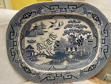 VINTAGE LARGE BLUE AND WHITE MEAT TRAY BY STAFFORDSHIRE STONEWARE JOHN LYTHCOE
