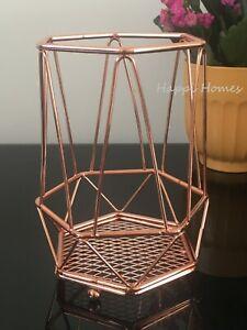 NEW Copper Rose Gold Geometric Kitchen Cutlery Utensil Holder Makeup Brush Rack