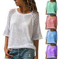 Plus Size Womens Summer Blouse Lace 3/4 Raglan Sleeve Casual T-Shirt Loose Tops