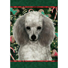 Poodle Silver Holiday Treats Flag