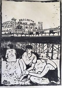Original Linocut Print Brighton Beach Impressionist Signed Picture Art