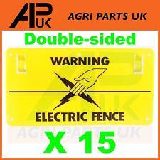 15x recinzione elettrificata PLASTICA Avvertimento Segno BIADESIVO POLY FILO NASTRO VITE FISSAGGIO