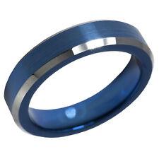 Blue Tungsten 4mm Satin Flat Band Ring  Natural Polish Bevel Edge size 4.5, 5.5
