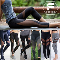 Women New Mesh Compression Leggings Hip Push Up Yoga Pants High Waist Trousers S