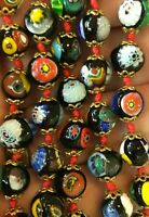 "Art Deco Venetian Murano Glass Bead Necklace 24"" Millefiori Multi-color"
